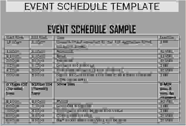 Template for Schedule Of events 7 Schedule Of events Template Procedure Template Sample