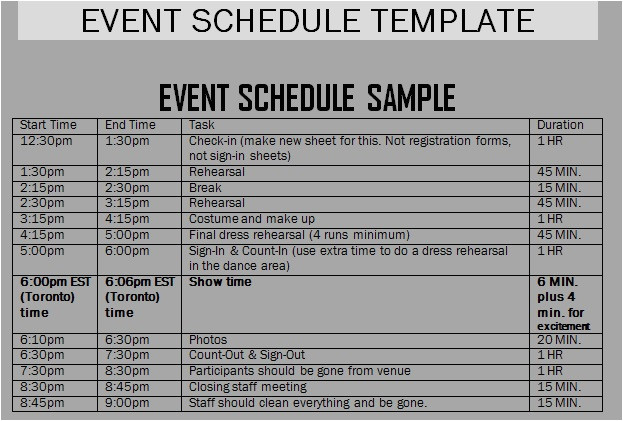 event itinerary templates