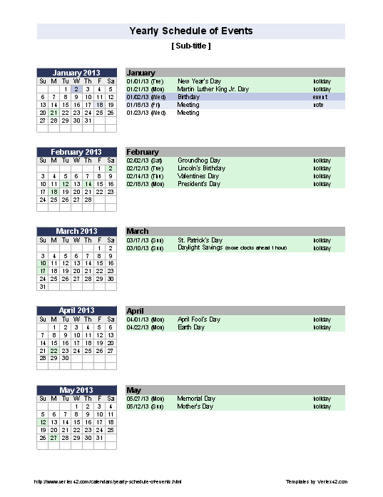Template for Schedule Of events Excel Templates