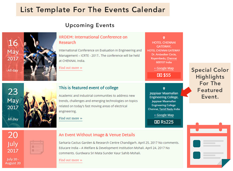template events calendar