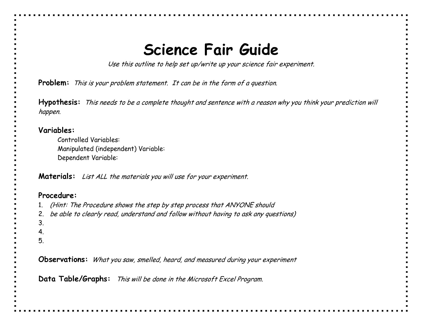 Template for Science Experiment Project Science Fair Project Template