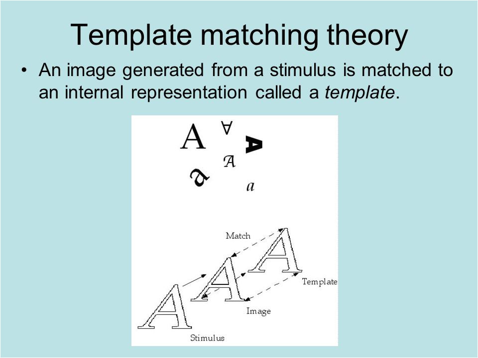 Template Matching theory the Cognitive Approach I History Vision and attention