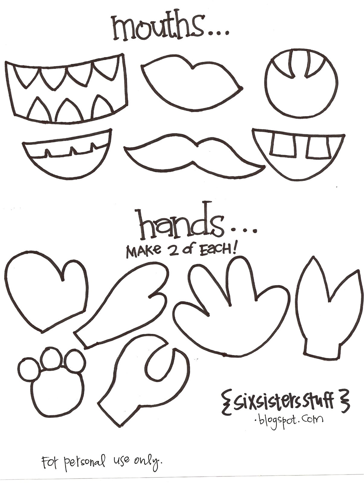 make your own monster puppets printable
