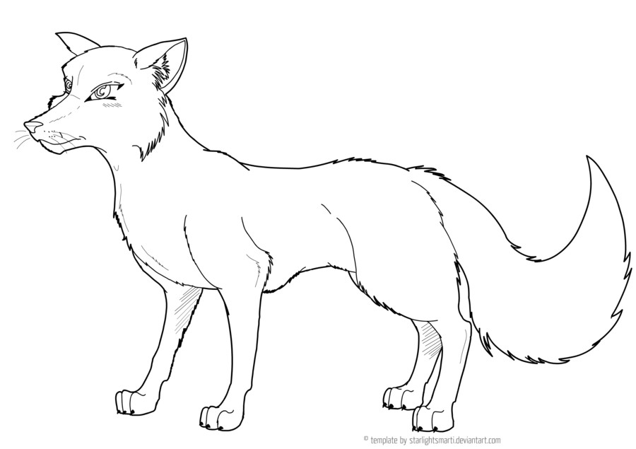 Template Of A Fox Pin Fox Drawing Stencils Hawaii Dermatology Pictures On