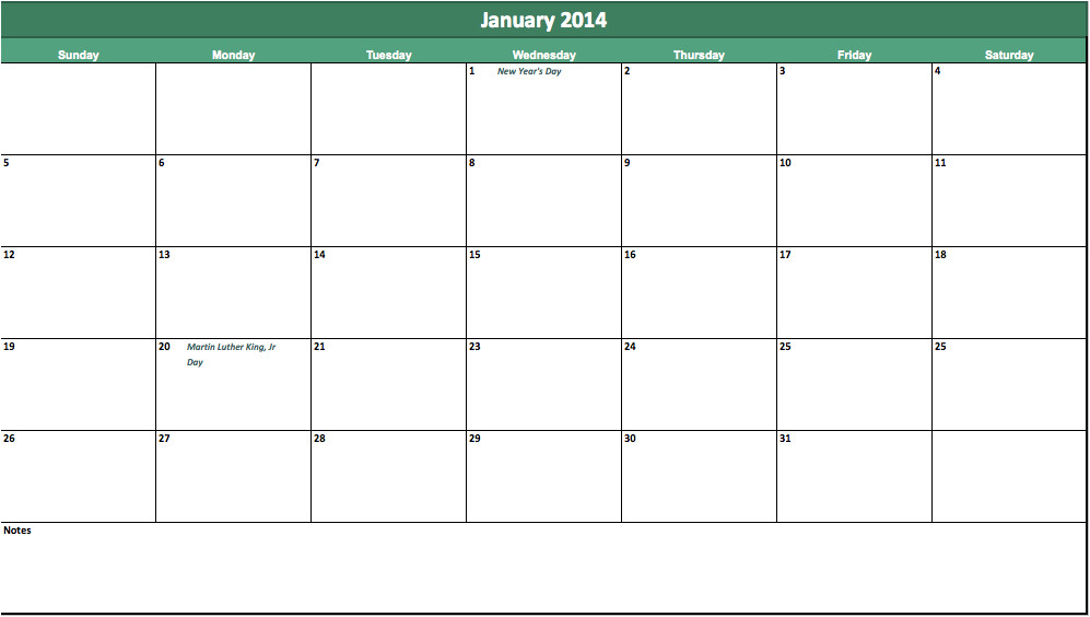2014 blank monthly calendar