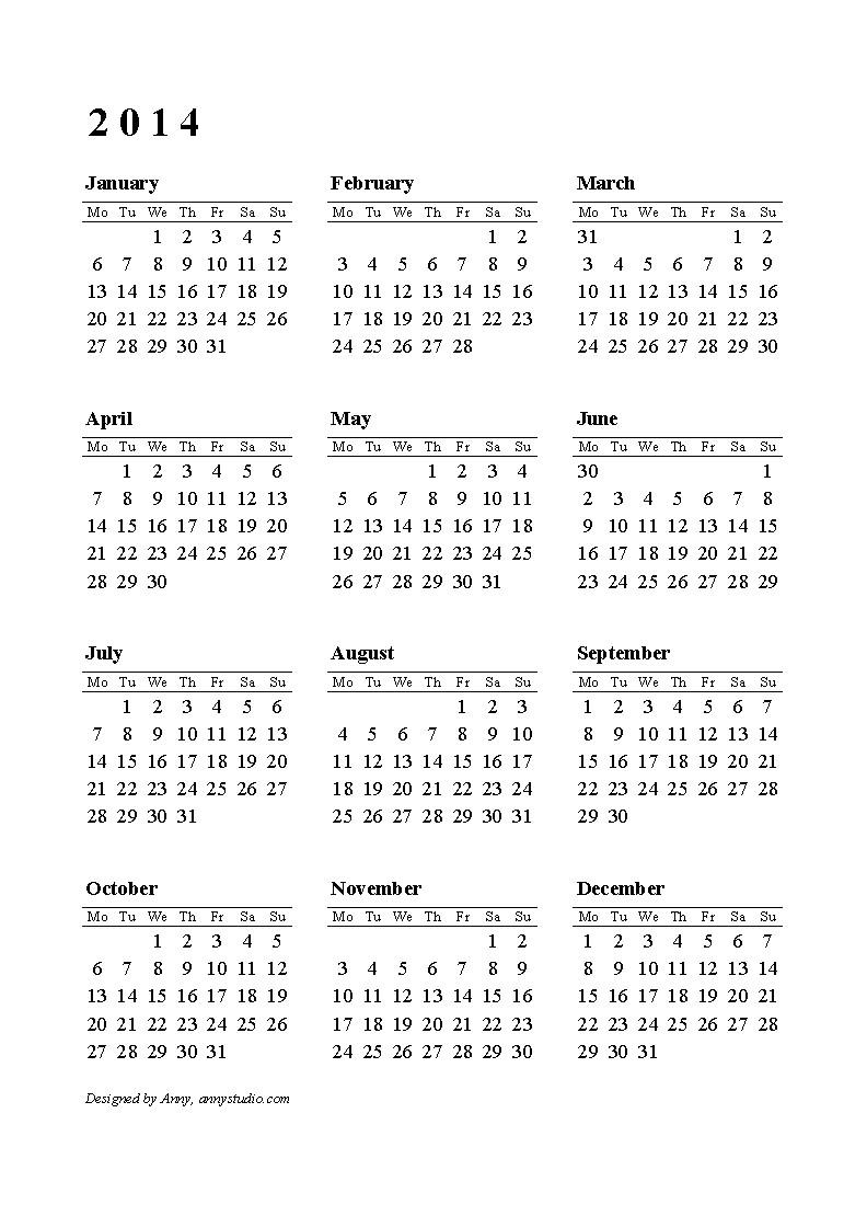 Templates for Calendars 2014 2014 Printable Calendar Download Templates