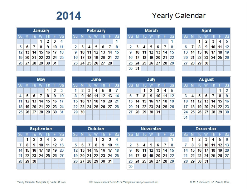 Templates for Calendars 2014 2014 Yearly Calendar Template the Best Resume
