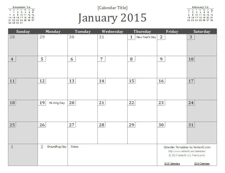 Templates for Calendars 2015 2015 Calendar Templates and Images