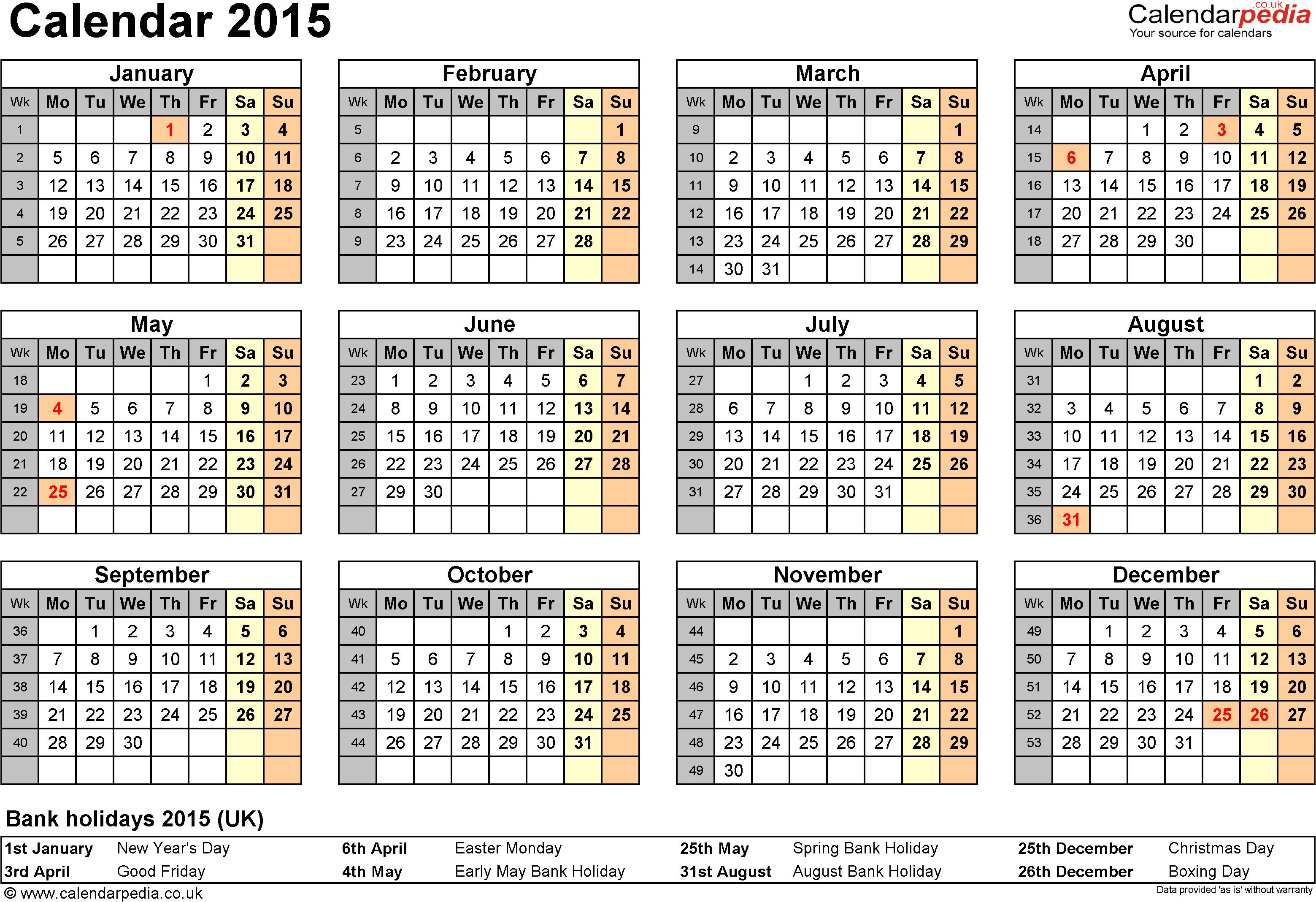 calendar 2015 word templates
