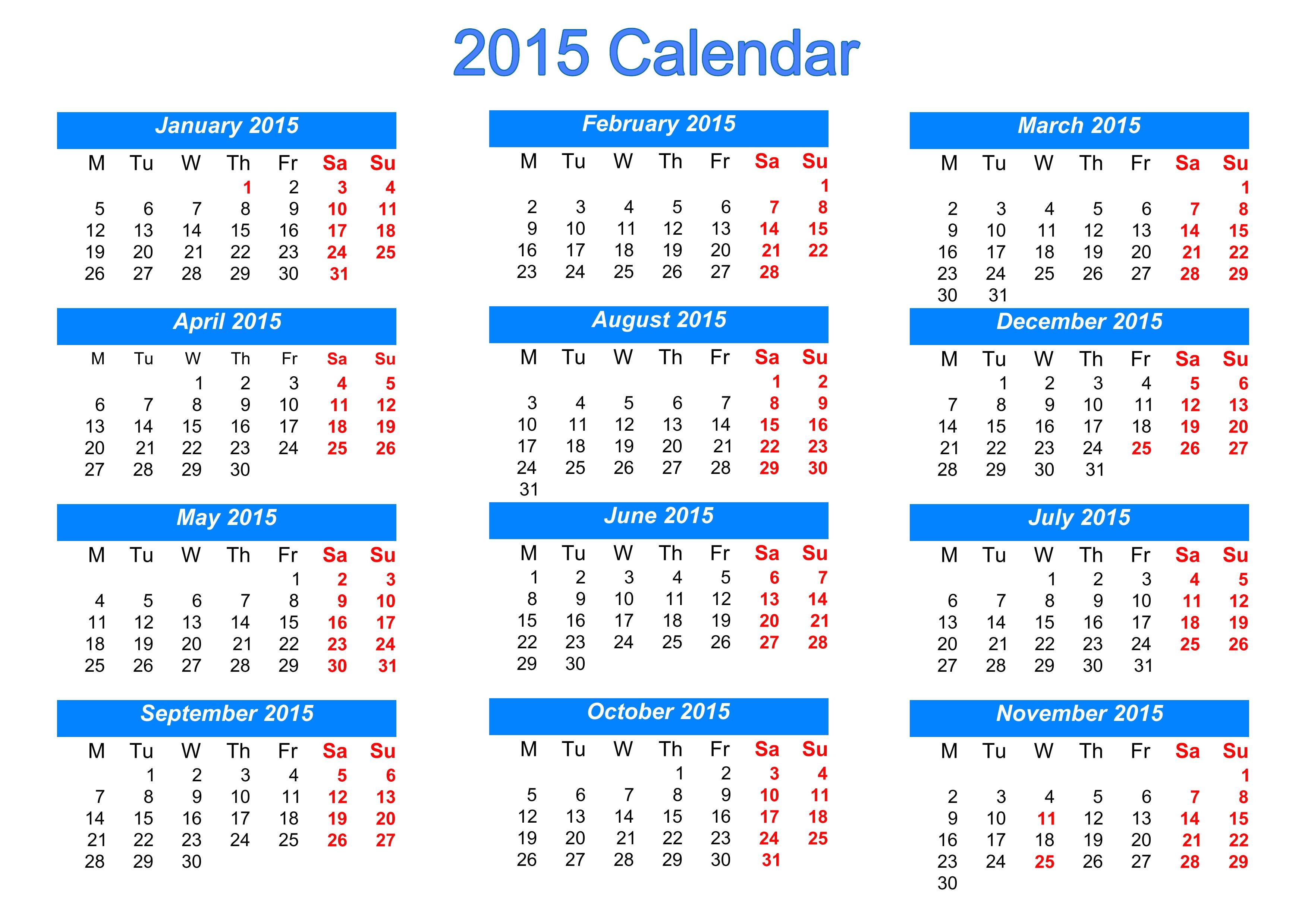 printable calendar templates 2015