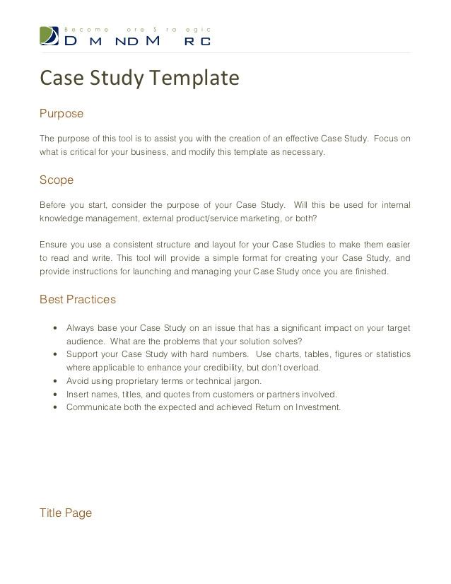 Templates for Case Studies Case Study Template