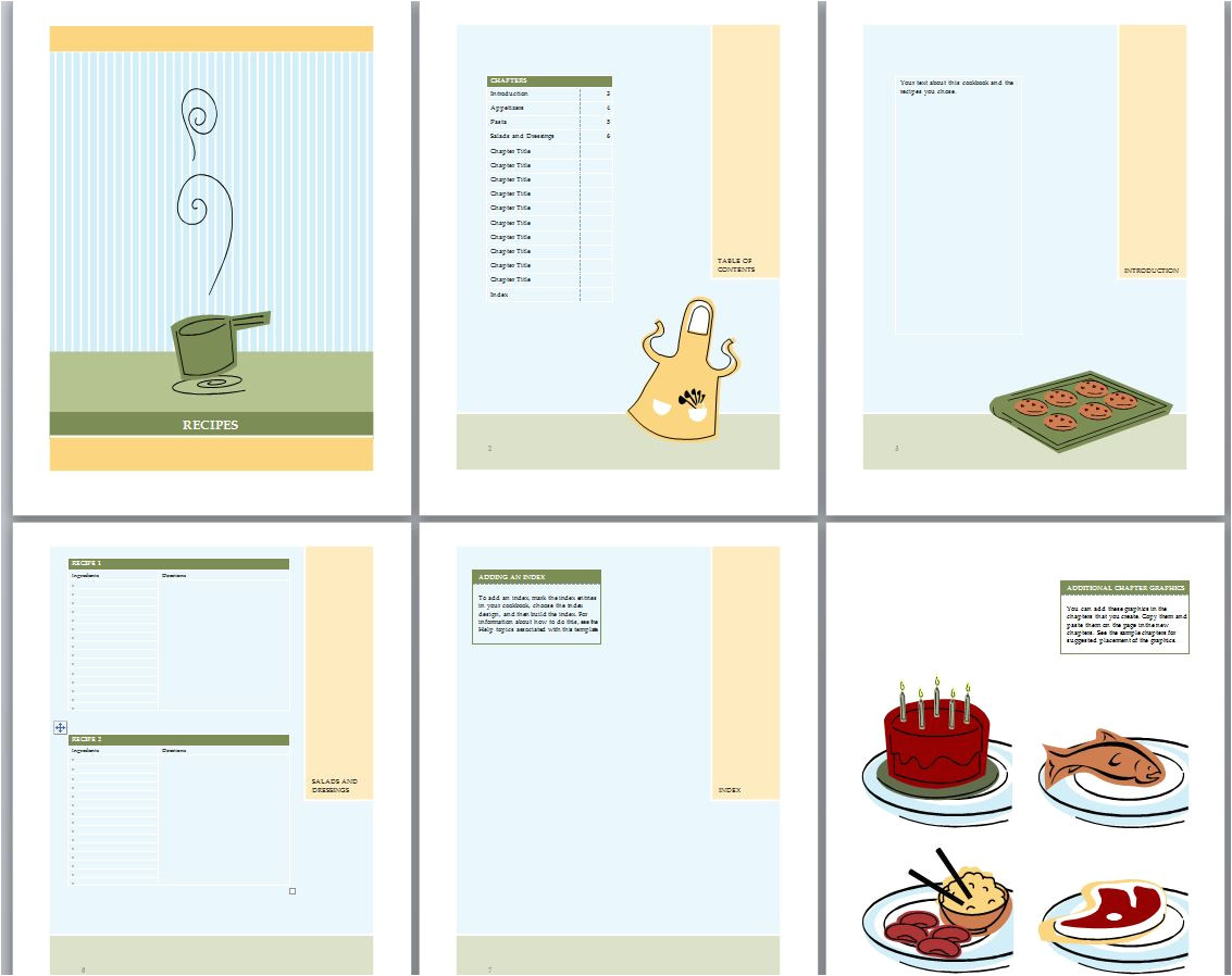 Templates for Cookbooks Cookbook Template Recipe Book Template