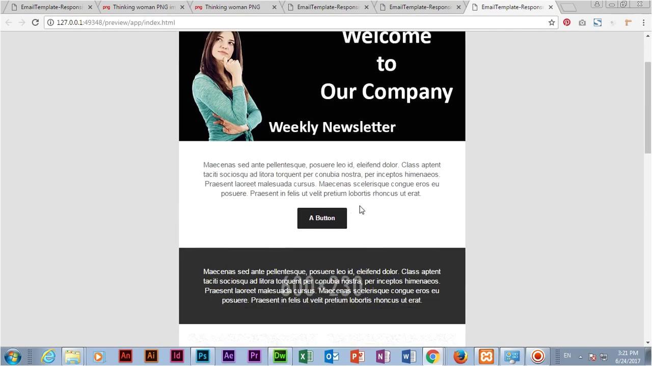 Templates for Dreamweaver Cc Create Email Template In Adobe Dreamweaver Cc 2017 Youtube