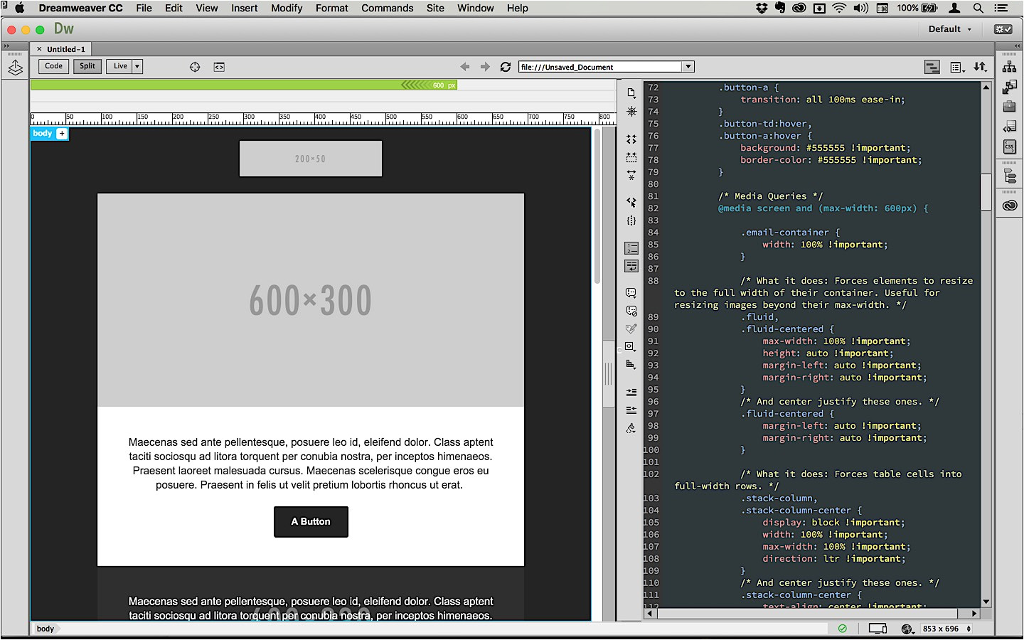 email templates in dreamweaver cc