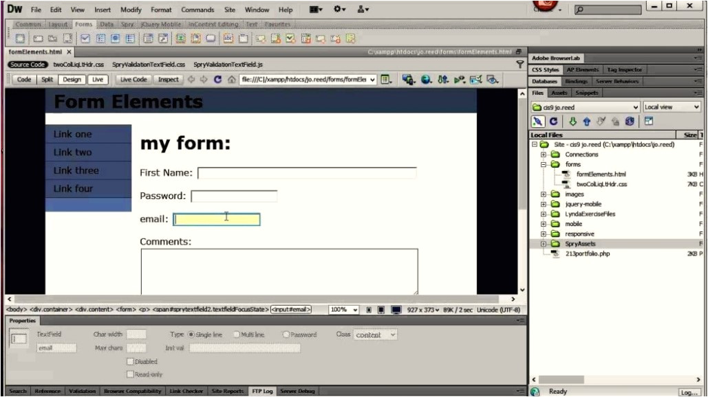 dreamweaver cs6 contact form template