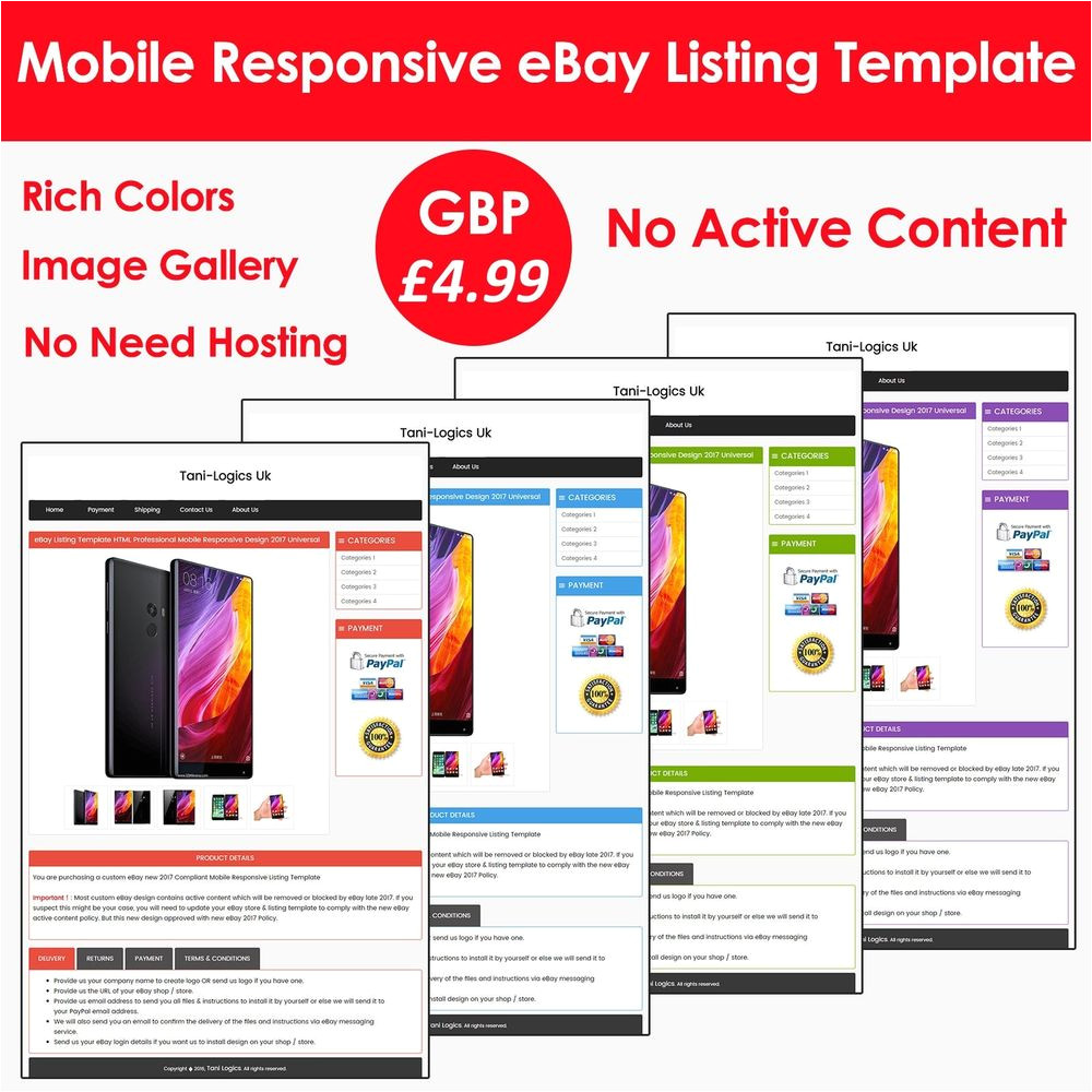 Templates for Ebay Listings Ebay Listing Template Auction HTML Professional Mobile