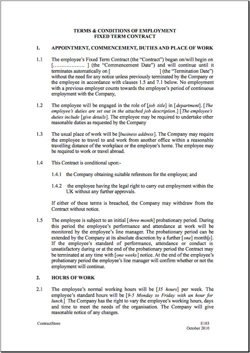 Templates for Employment Contracts Fixed Short Term Employment Contract Template