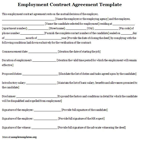 Templates for Employment Contracts Free Printable Employment Contract Sample form Generic