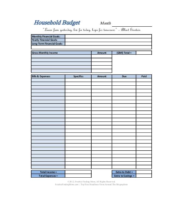 sample household budget