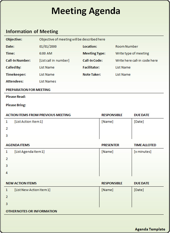 Templates for Minutes Of Meetings and Agendas Agenda Templates Free Word Templates