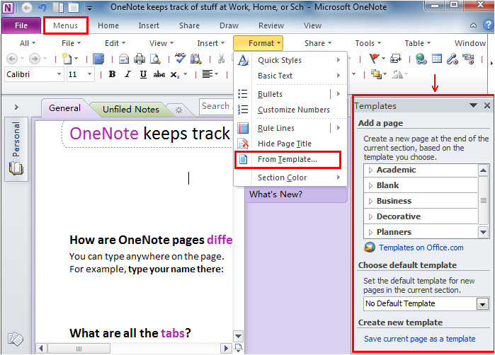 Templates for Onenote 2010 where is Templates In Microsoft Onenote 2010 2013 and 2016