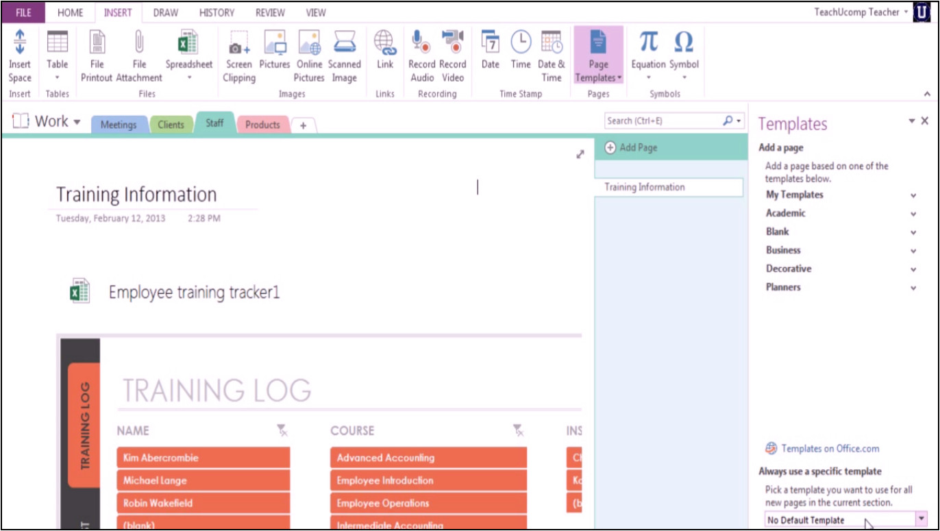 microsoft onenote 2013 training using templates stationery
