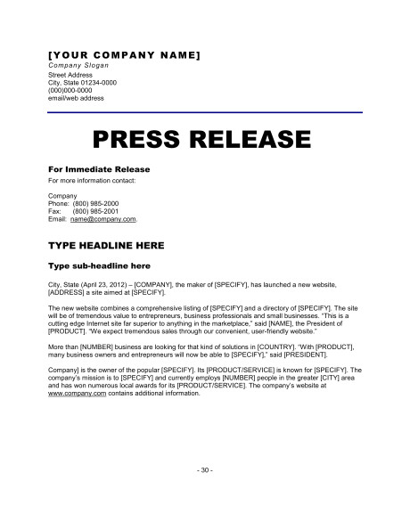 Templates for Press Releases Press Release New Website Template Word Pdf by