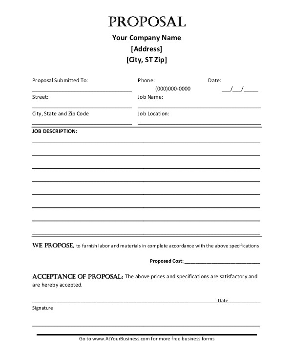 Templates for Proposals In Word Job Proposal Template 18 Free Word Pdf Document