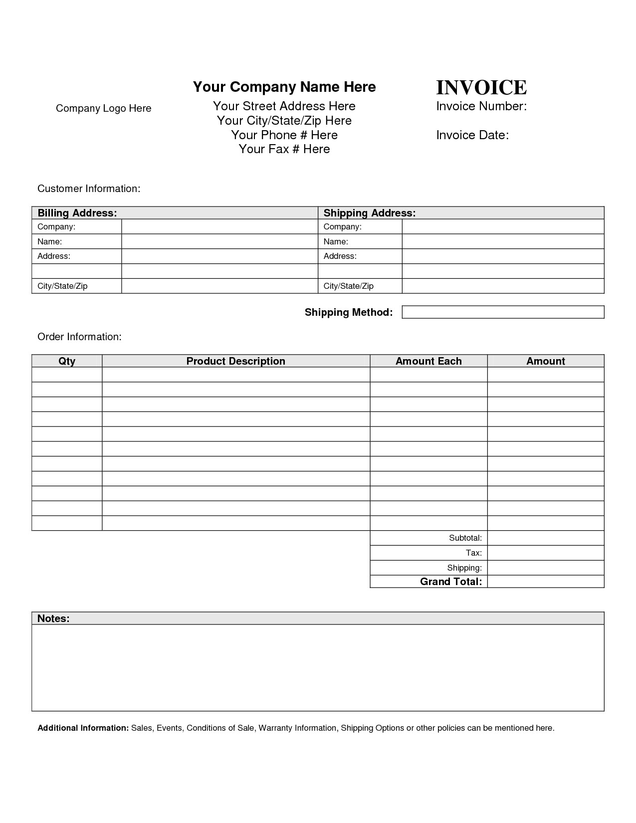 billing invoice template free 1193