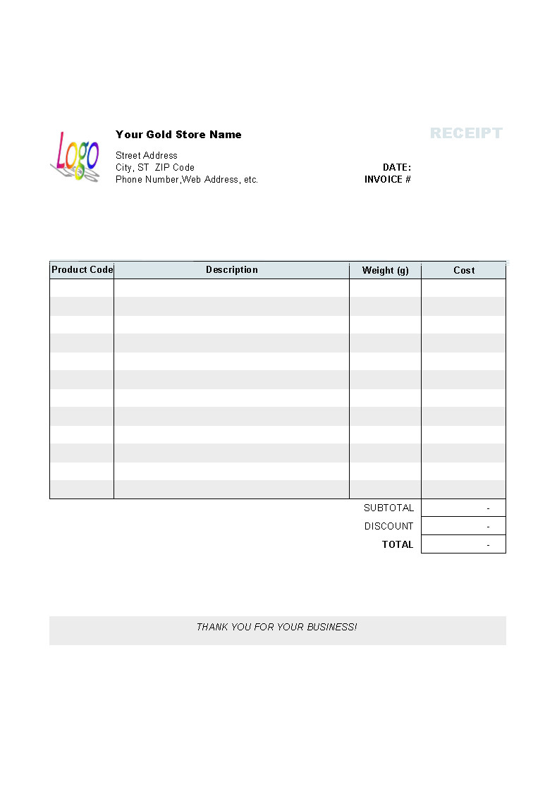 Templates for Receipts and Invoices Gold Shop Receipt Template Uniform Invoice software