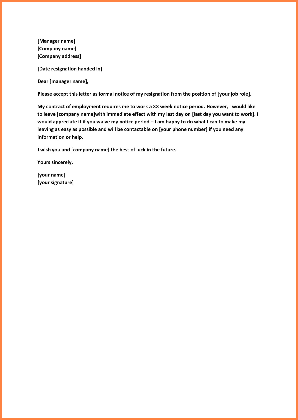 8 example of resignation letter short notice