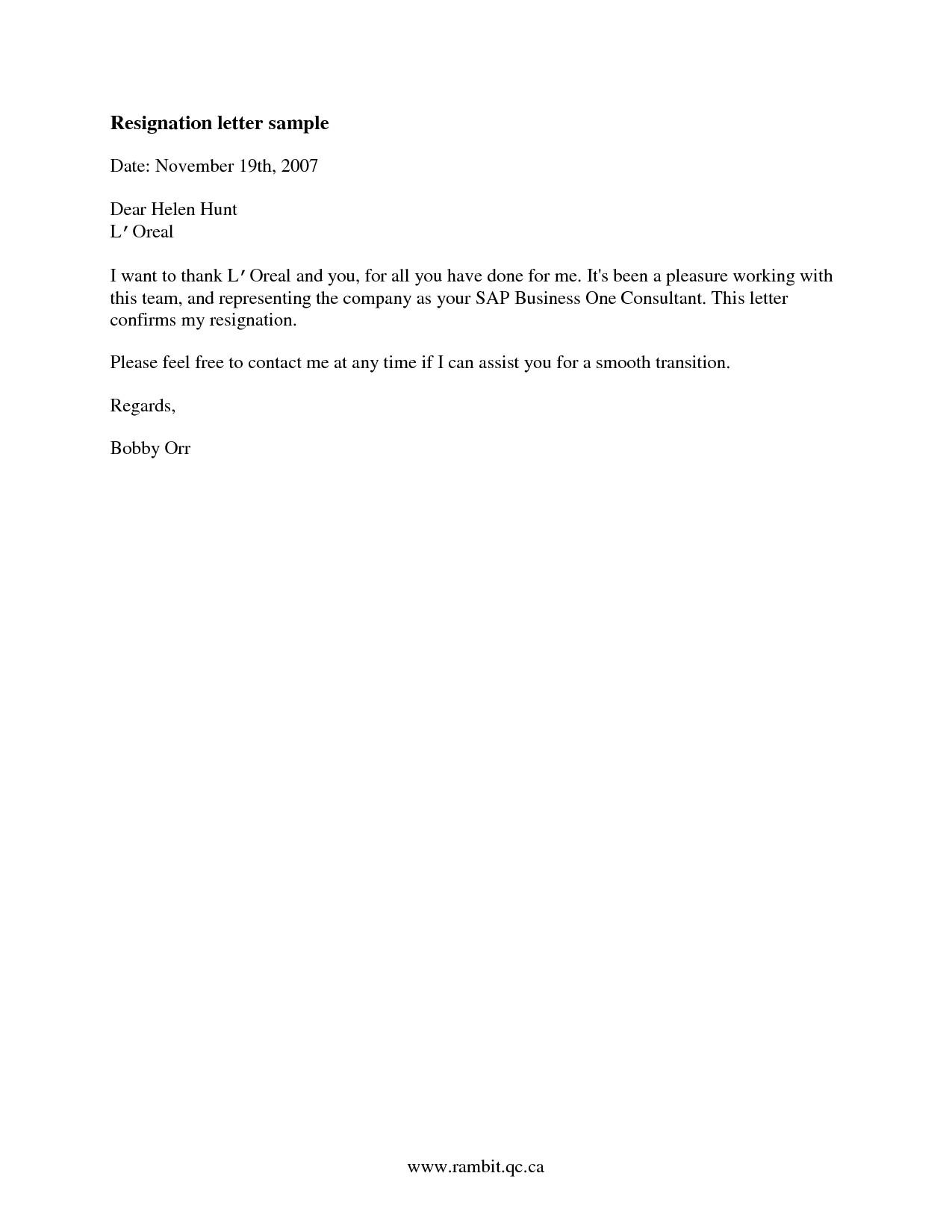 sample good resignation letter