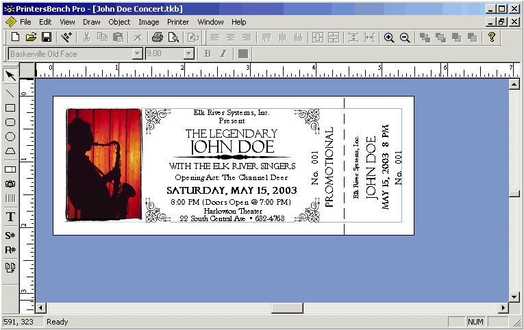 templates for tickets with stubs