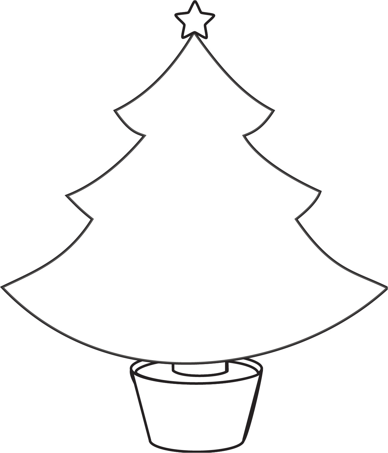 christmas tree printable template outline pattern