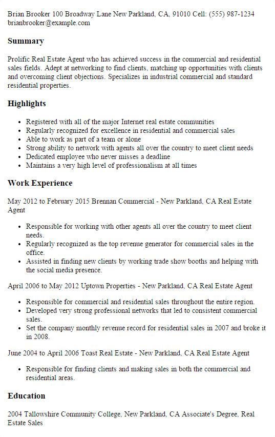 real estate salesperson resume