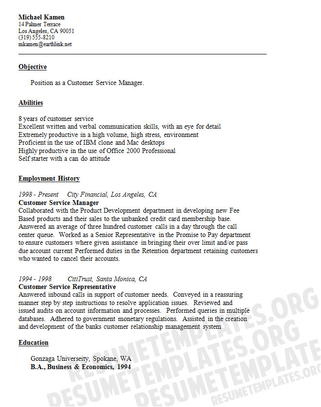 resume for customer service quotes
