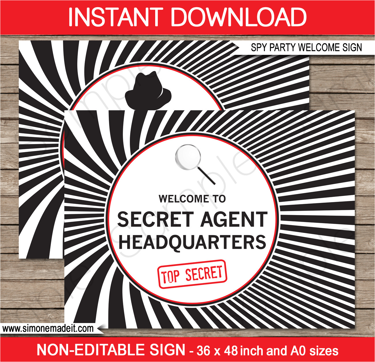Templating Agent Spy Party Backdrop Welcome Sign Secret Agent Party