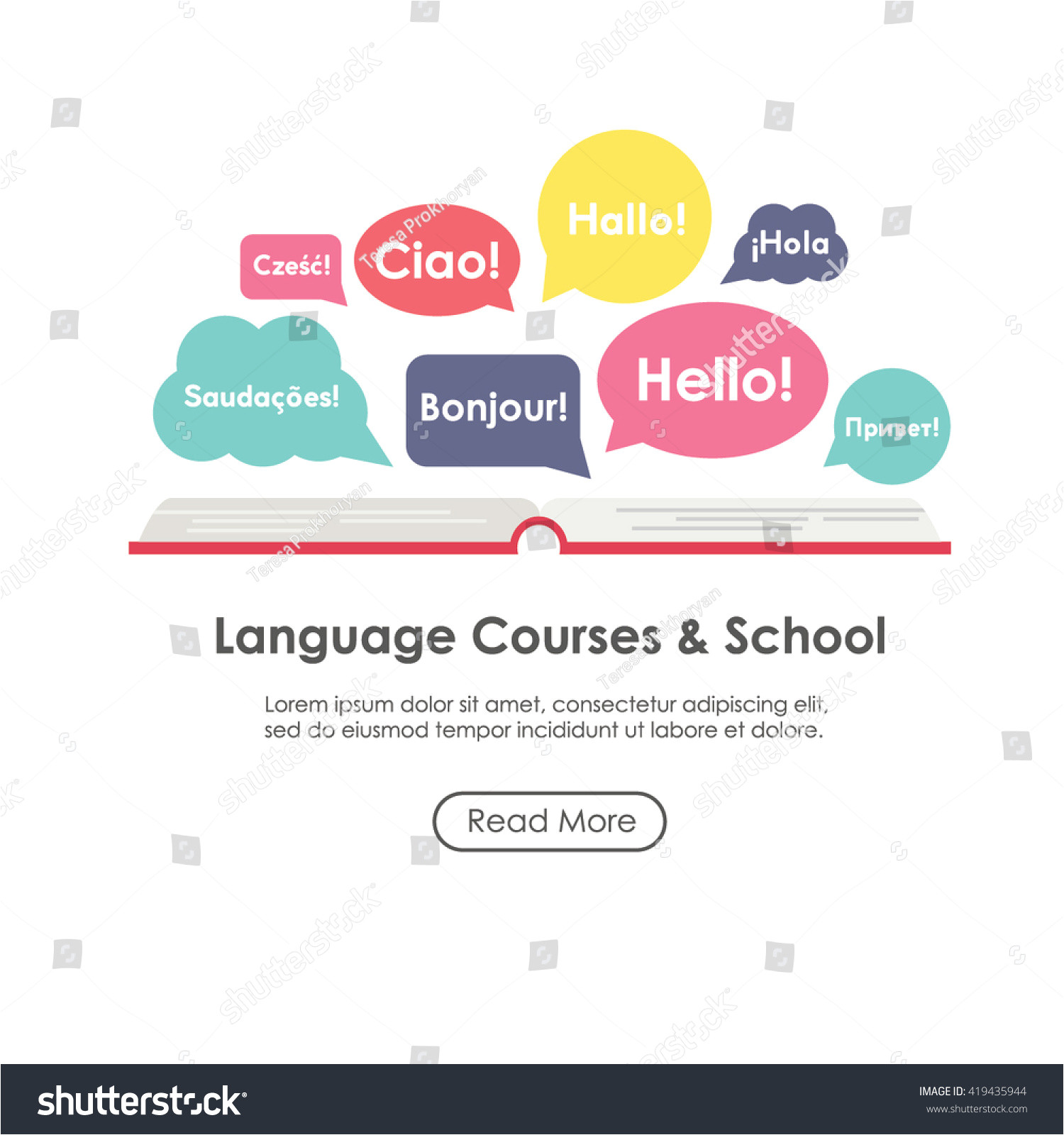 Templating Language Language School Poster Banner Template Speech Stock Vector