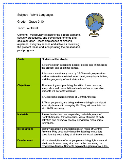 Templating Language World Language Lesson Plan Sample Spanish Lesson Plans