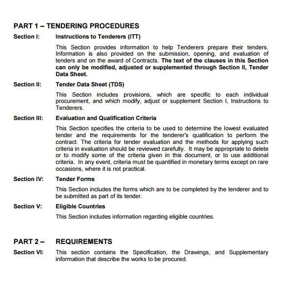tender document template