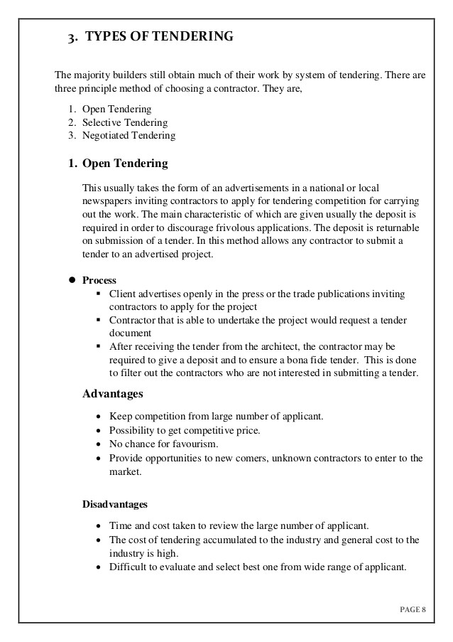 tender specification template