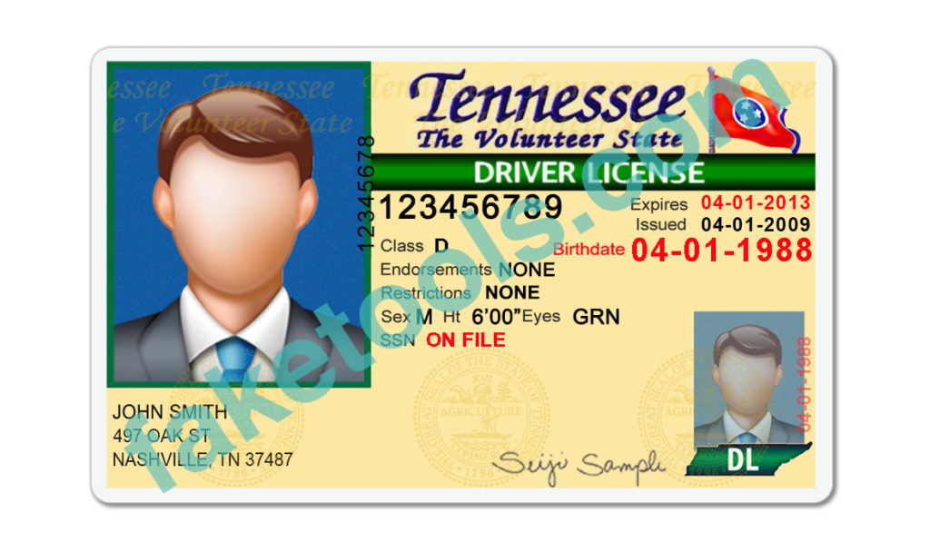 tennessee driver license psd template