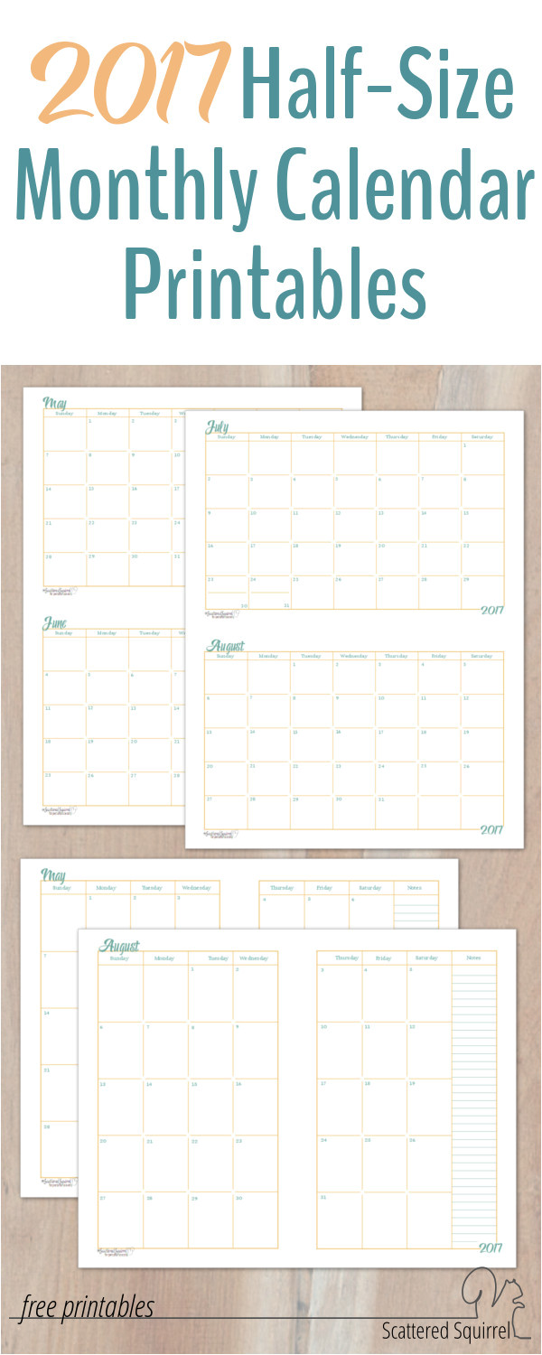 2017 half size monthly calendar printables are finally ready