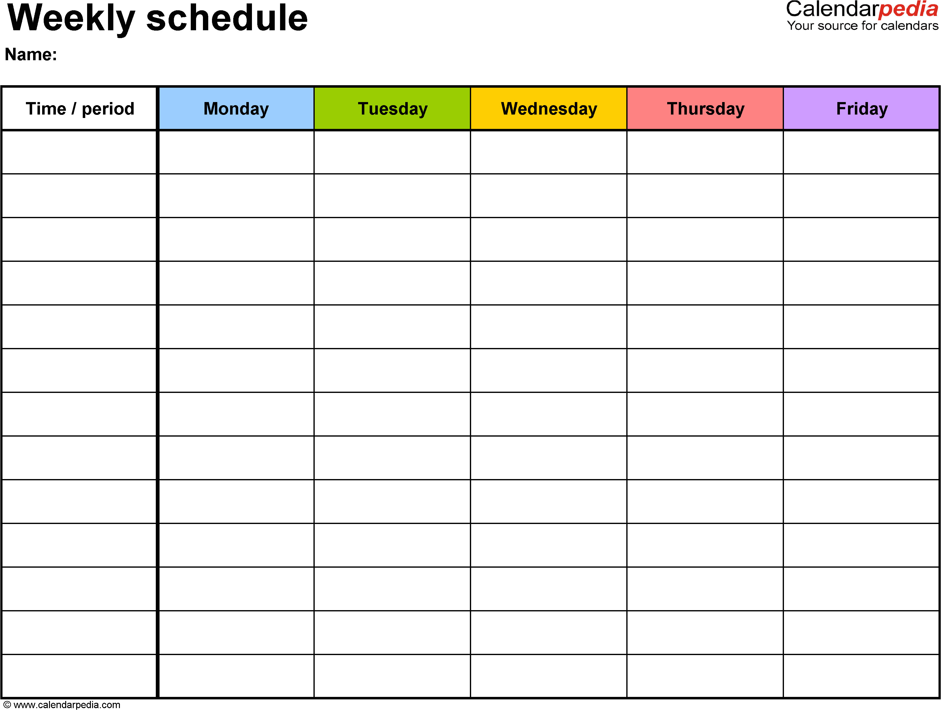 Term Calendar Template Weekly Schedule Template for Word Version 1 Landscape 1