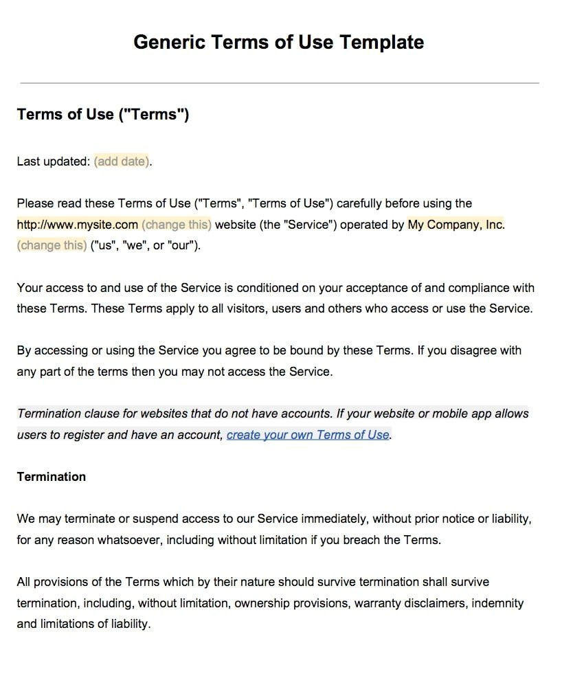Term Of Use Template Sample Terms Of Use Template Termsfeed