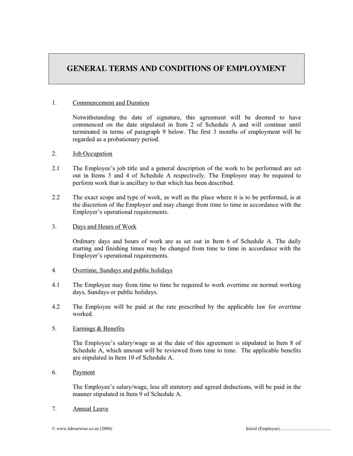 8092 terms of employment