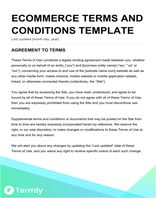 Terms and Conditions Template Ecommerce Free Terms Conditions Templates Downloadable Samples