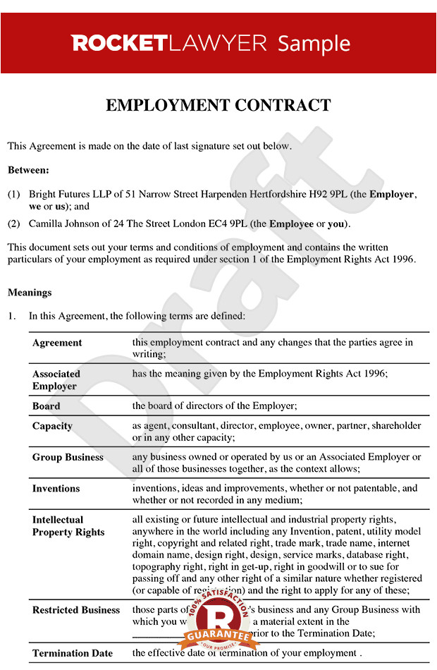 Terms Of Employment Contract Template Senior Employment Contract Executive Employment Agreement