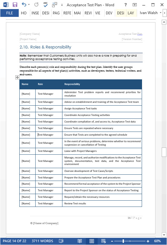 Testing Procedures Template Acceptance Test Plan Template Ms Word Instant Download