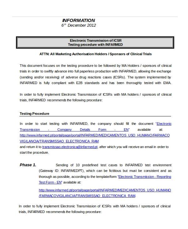 Testing Procedures Template Procedure Template 8 Free Word Documents Download
